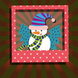 Snowman and Christmas Tree Greeting Card Royalty Free Stock Photos