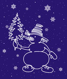 Snowman with christmas tree. Hand drawn snowman with christmas tree on the background with falling snowflakes Stock Image