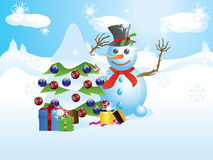 Snowman with Christmas tree Stock Photography