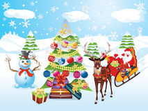 Snowman with Christmas Tree. Happy snowman with decorated Christmas tree, snowy winter scene Stock Image