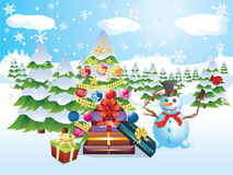 Snowman with Christmas Tree. Happy snowman with decorated Christmas tree, snowy winter scene Royalty Free Stock Photography