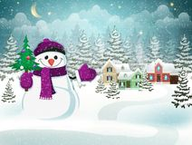 Snowman with christmas tree. Christmas holidays. Winter village landscape with snow covered houses, snowman with christmas tree and Christmas decorations Royalty Free Stock Images