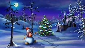 Snowman and Christmas Tree Near a Magic Castle Stock Photo