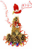 The snowman, the Christmas tree, New year. New year greeting card, depicts a tree from pine cones on top of the snowman and the inscription New year slowly go in Stock Image