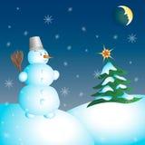 Snowman and Christmas tree. Christmas night, snow,  illustration Royalty Free Stock Photo