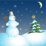 Snowman and Christmas tree. Christmas night, snow, vector illustration Stock Images