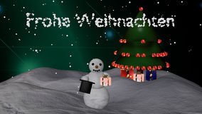 Snowman with Christmas tree. Christmas picture with German text Merry Christmas. Snowman with cylinder and gift in front of a Christmas tree. 3d illustration stock illustration