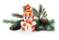 Snowman, Christmas tree and pine cones Stock Photography