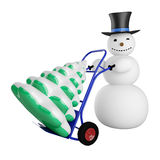 Snowman with Christmas tree on a pushcart Stock Images