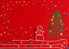 Snowman and Christmas tree on red felt. Abstraction Christmas 2016 red background stock photos