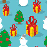 Snowman and Christmas tree seamless pattern. Holiday background Stock Image