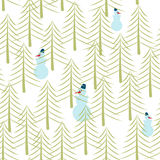 Snowman and Christmas tree seamless pattern. Holiday ornament. N. Ew Year texture. Winter forest background Stock Photography