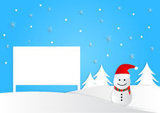 Snowman and christmas tree with sign, christmas background, vector Stock Photos