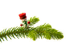 Snowman on the Christmas tree Royalty Free Stock Photo
