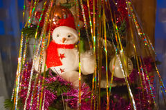 Snowman on the Christmas tree Stock Photography