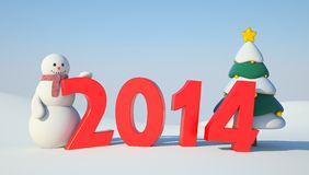 Snowman, Christmas tree and 2014 text. Illustration for New Year and Christmas royalty free illustration