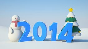 Snowman, Christmas tree and 2014 text Royalty Free Stock Image