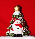 Snowman at the Christmas tree Stock Photography