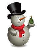 Snowman with Christmas tree. Vector. Stock Photo