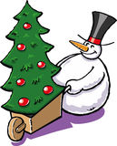 Snowman with a christmas tree. A vector illustration of a snowman with a christmas tree Royalty Free Stock Image