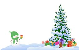 Snowman and Christmas tree. Vector illustration of a cute snowman and a Christmas tree with gifts,  on a white background Stock Photos