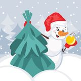Snowman and Christmas Tree. Vector illustration. Greeting card Royalty Free Stock Images