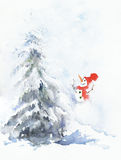 Snowman and christmas tree watercolor painting greeting card. holiday illustration Stock Images
