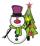 Snowman with a Christmas tree Royalty Free Stock Photo