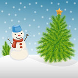 Snowman and Christmas tree in winter Stock Photography