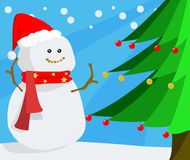 Snowman. And Christmas tree in wintertime Royalty Free Stock Images