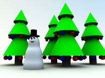 Snowman and Christmas Trees 0 Stock Image