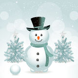 Snowman and Christmas trees Royalty Free Stock Image