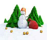 Snowman of Christmas trees Royalty Free Stock Photo