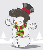 Snowman and christmas trees background Royalty Free Stock Photography