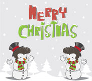 Snowman and christmas trees background Stock Photo