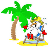 Snowman at christmas on vacation at the beach Royalty Free Stock Images
