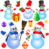 Snowman Christmas Vector (decorative Objects) Royalty Free Stock Photo