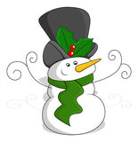 Snowman - Christmas Vector Illustration Royalty Free Stock Images