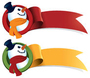 Snowman Christmas Web Ribbon. Just add text! Perfect for web buttons, banners, signs, tags and stickers Stock Photography
