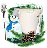 Snowman and Christmas wreath Royalty Free Stock Photos