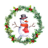 Snowman in christmas wreath with fir tree branches. Watercolor. Snowman in top hat and red scarf. Vintage christmas garland with spruce branch. Watercolor Stock Photo