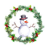 Snowman in christmas wreath with fir tree branches. Watercolor. Snowman with top hat and christmas wreath. Winter pine tree label. Watercolor Royalty Free Stock Image