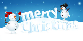 Snowman christms time. Funny snowman merry christms time Stock Image