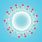 Snowman in circle Royalty Free Stock Photo