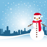 Snowman with city Stock Images