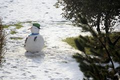 Snowman in the city. Decorated with vegetables Royalty Free Stock Images