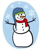 Snowman Clip Art. A clip art illustration featuring a simple snowman set against blue with snowflakes stock illustration