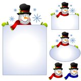 Snowman Clip Art Banners and Borders. A clip art illustration of your choice of 5 snowman images featuring snowman holding signs, banners, or frames and 2 in the Royalty Free Stock Photo