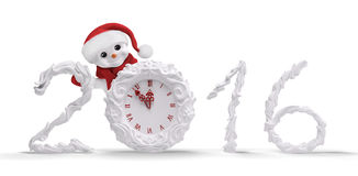 Snowman with clock and 2016 isolated 3d rendering. Snowman with red santa hat holding christmas clock, 2016 isolated over white 3d rendering vector illustration