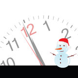 Snowman with clock vector illustration Royalty Free Stock Image